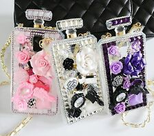 Handmade Luxury Bling Perfume Bottle Case Crystal Cover Chain for iPhone/Samsung