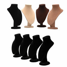 4x Velvet Necklace Jewelry Pendant Chain Display Bust Stand Holder Organizers