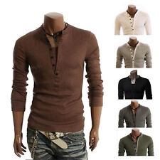 Mens Button Front Long Sleeve T-Shirt V-neck Casual Slim Fit Tops Shirts THE NEW