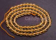 SALE Small 4mm Round Natural Yellow Crystal gemstone Loose Beads Strand 15''-727