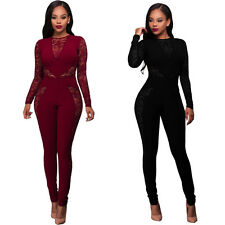 Sexy Womens Perspective Lace Bodycon Long Sleeve Jumpsuit Romper Party Clubwear
