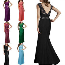 Sexy Women Lady Sleeveless Lace Soft Bowknot Long Party Prom Dresses Robe S-XXL