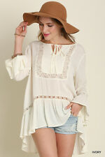 UMGEE Boho Hippie Peasant Chic Crochet Lace Knit Ivory Taupe Tunic Top S M L