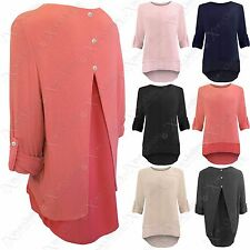 LADIES CHIFFON INSERT FINE KNIT SLEEVED JUMPER BUTTONS BACK WOMENS HILO LOOK TOP