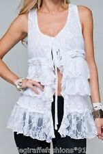 White Lined Lace Ruffle Tier Tie Front Sleeveless Vest S