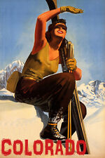COLORADO SKI MOUNTAINS SUNNY DAY WINTER SPORT GIRL SKIING VINTAGE POSTER REPRO