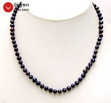 "SALE Small 5-6mm Black Round Natural freshwater PEARL 17"" Necklace-nec6205"