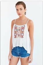 """NWT $59 ECOTE URBAN OUTFITTERS """"rhapsody"""" EMBROIDERED CAMI CAMISOLE TOP sm, M, L"""