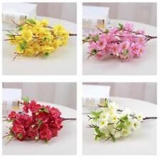 "2Pcs 16"" Artificial Spring Peach Blossom Cherry Plum Branch Silk Flower Decor"