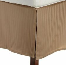 One Bed Skirt/valance 100% Egyptian Cotton 15 Inch Drop 1000 TC Taupe Stripe