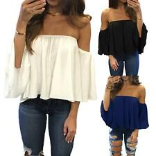 Casual Women Off The Shoulder Loose Short Sleeve T-Shirt Party Tops Blouse X8P0