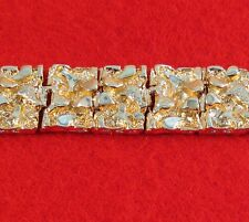 MENS 14 KT GOLD PLATED 7-9 INCH HEAVY NUGGET BRACELET 1/2 INCH WIDE -200