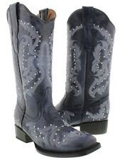 Womens Denim Blue Studded and Stitched Leather Western Cowboy Boots Square Toe