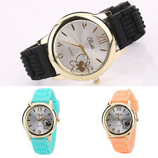 Women Butterfly Silver Tone Dial Soft Silicone Strap Quartz Wrist Watch Fashion