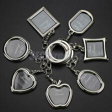 Metal Insert Photo Picture Frame Key Fob Split Ring Keychain DIY Findings Gift