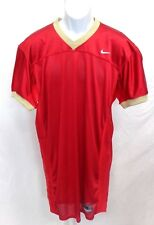 College Authentic Blank Football Jersey Red with Gold Trim