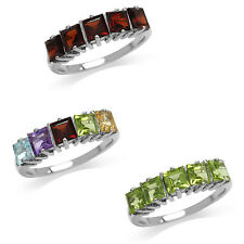 Genuine Gemstone Multi Color 5-Stone 925 Sterling Silver Ring