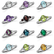 Genuine Gemstone White Gold Plated 925 Sterling Silver Engagement Ring