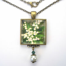 "LILY OF THE VALLEY MAY BIRTHDAY FLOWER ""VINTAGE CHARM"" ART PENDANT NECKLACE"
