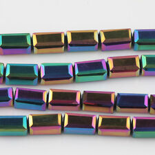 20/40Pcs Charml Cuboid Crystal Beads Necklace Jewelry DIY Making Colorfu 8*4mm