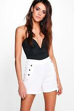 Boohoo Womens Jen Button Detail High Waist Shorts