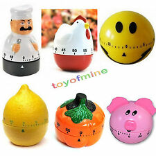 Creative Plastic Mechanical Kitchen Cooking Alarm Bell Timer Reminder 60 Minute
