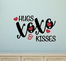 Hugs & Kisses Vinyl Decal Wall Sticker Words Lettering Love Valentine's Decor