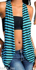 Teal/Black Stripe Racerback Drape Shrug/Cardigan Vest