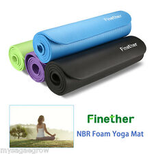Finether NBR Foam Exercise Gym Yoga Mat Fitness Pilates Pad Blanket 183x61cm UK