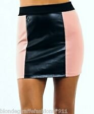 Beige/Black 2-Tone Pleather Faux Leather Mini Skirt Bandage/Bodycon Pencil S M L