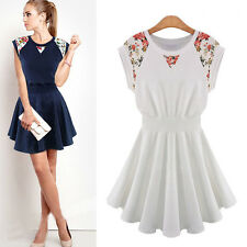 Floral Womens Knit Vintage Ruffle Evening Cocktail Party Prom Summer Mini Dress