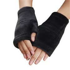 Winter Soft Hand Knitting Rabbit Fur Fingerless Half Cuff Gloves Elastic Warm
