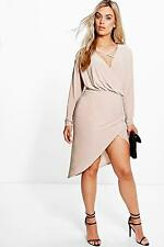 Boohoo Womens Plus Theresa Strappy Wrap Front Dress