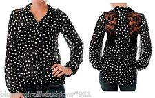 Black/White Dot Long Sleeve Chiffon Lace Inset Back Button Front Hi-Low Top