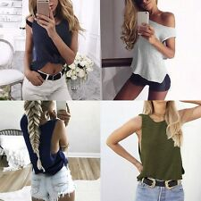 Sexy Women Sleeveless Tops Vest Knitted Blouse Casual Loose T-shirt Clubwear E31