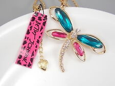 Betsey Johnson Fashion Cute inlay Crystal Dragonfly Pendant Necklace # B163