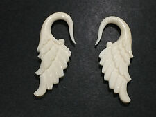 1 Pair Organic Hand Carved Angelic Wing Bone / Horn Hanger Ear Plugs Taper Gauge