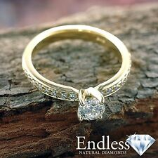 Round Cut Diamond Engagement Ring Size 7 14k Solid Gold 0.94 CT VS G-H Enhanced