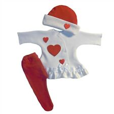 Baby Girl Lots of Love Red Hearts Dress Tights Hat Set - 4 Preemie Newborn Sizes