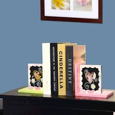 Adeco Set of 2 Child's Wood Bookends Heart-Shaped Picture Frames - BK6368