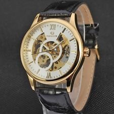 Classic Men's Style Automatic Mechanical Self-Winding Date Leather Wrist Watch
