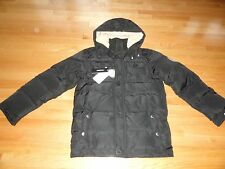 Diesel Youth Boys Down Winter Jacket Parka Gray Hooded L Large 10 12 14 16 NWT