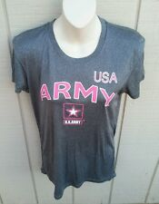 NWT J AMERICA USA ARMY Gray & Pink Crew Neck Tech Tee Shirt Ladies Cut/Fit MED