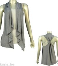 Light Gray Racerback Asymmetrical Drape Bolero/Shrug/Cardigan Cover-Up Vest