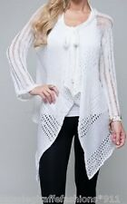 Off White Crochet/Knit L/Sleeve Drape Bolero/Shrug/Cardigan Cover-Up S/M/L #063