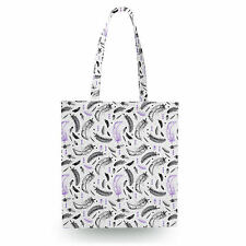 Watercolor Feathers Purple Canvas Tote Bag - 16x16 inch Book Gym Bag Optional Zi
