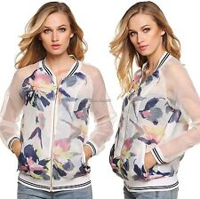 Women Casual V-Neck Patchwork Floral Full Zip Long Sleeve Tops Jacket Coat C1MY