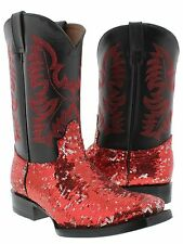 Women's Red Sequins Western Rodeo Cowboy Boots Square Toe