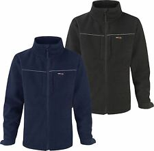 Mens Fleece Jacket with Soft Shell Panels - Water Resistant Windproof Breathable
