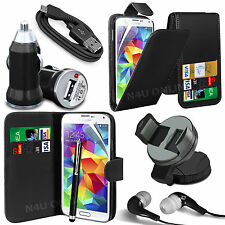 8 in 1 Bundle Accessory Leather Case Car Holder Charger For Samsung Galaxy S5